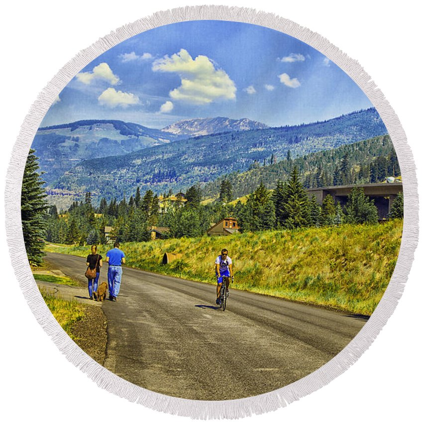 Vail Round Beach Towel featuring the photograph On A Country Road by Madeline Ellis