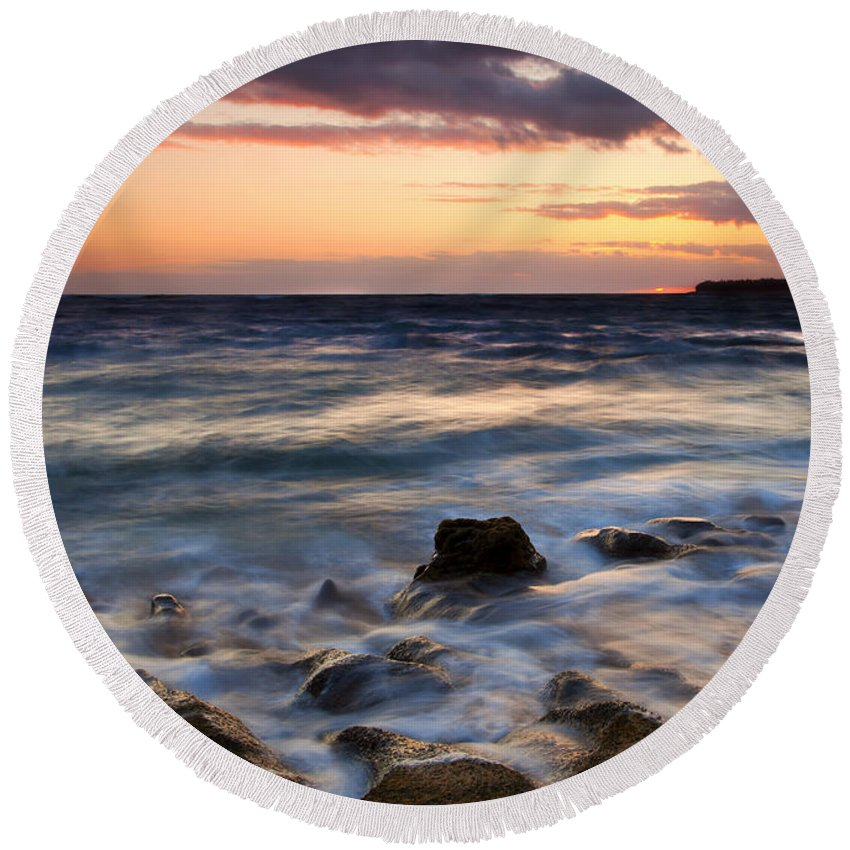 Lumahai Beach Round Beach Towel featuring the photograph On The Horizon by Mike Dawson