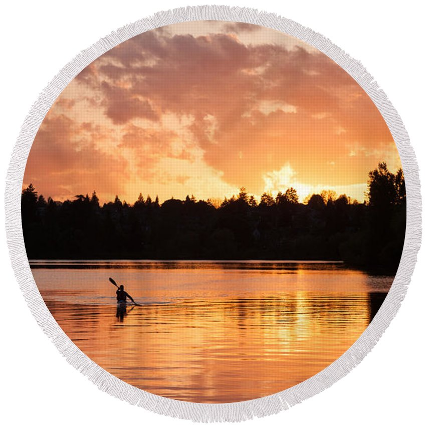 Sunset Round Beach Towel featuring the photograph On The Lake by Mike Reid