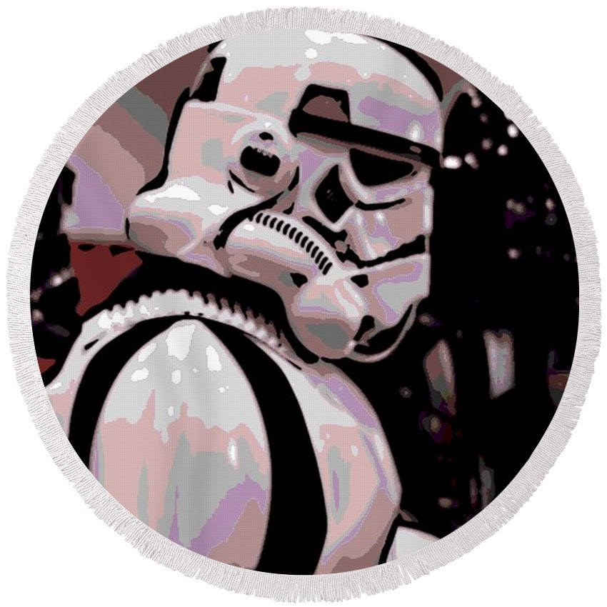 Storm Trooper Round Beach Towel featuring the photograph On The Move by George Pedro