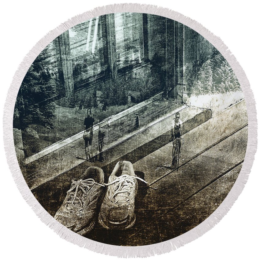 Sneakers Round Beach Towel featuring the photograph On The Road by Madeline Ellis