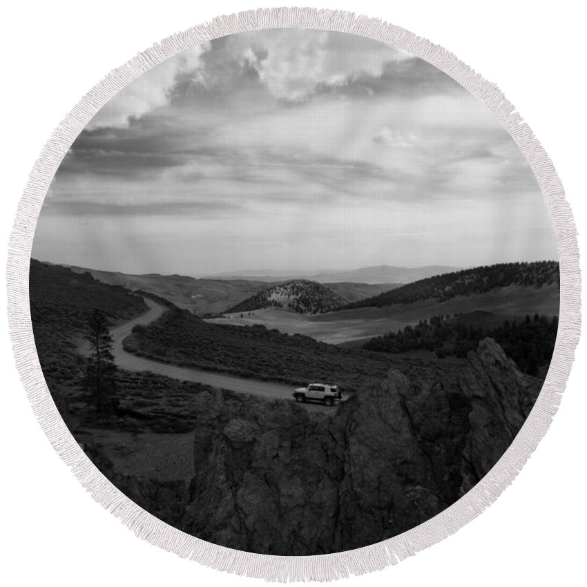 Black And White Round Beach Towel featuring the photograph On The Road To Somewhere by Joe Schofield