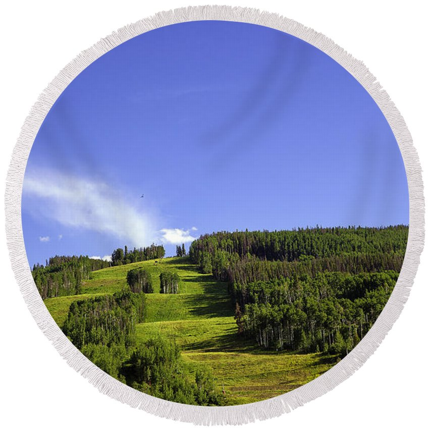 Colorado Round Beach Towel featuring the photograph On Vail Mountain II by Madeline Ellis