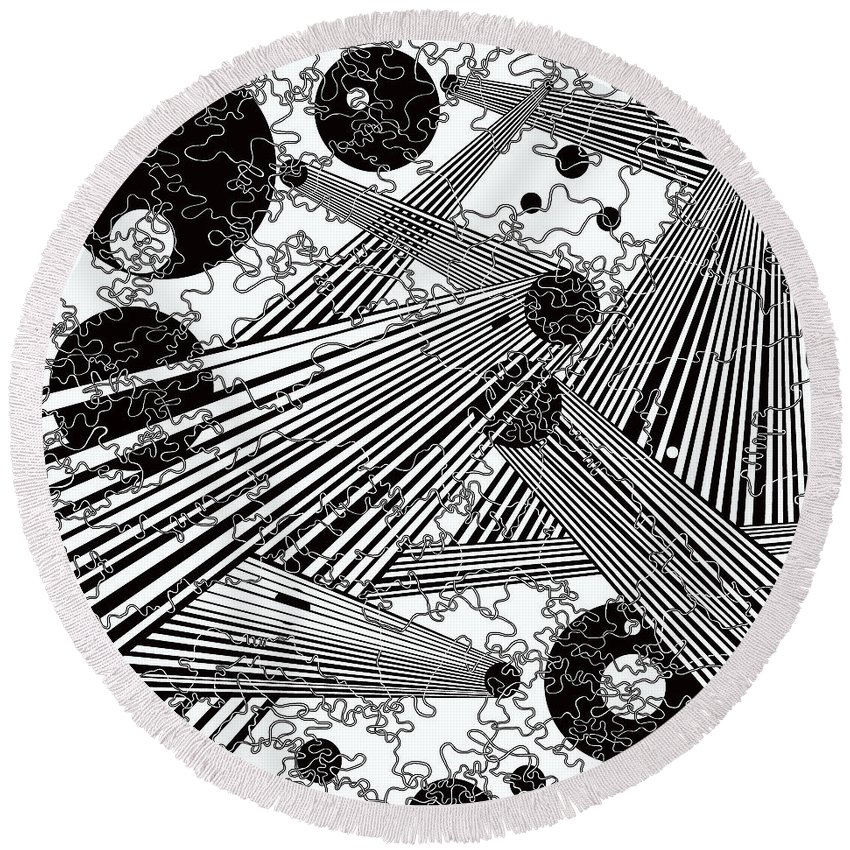 Optical Illusion Round Beach Towel featuring the painting One 44 by Douglas Christian Larsen