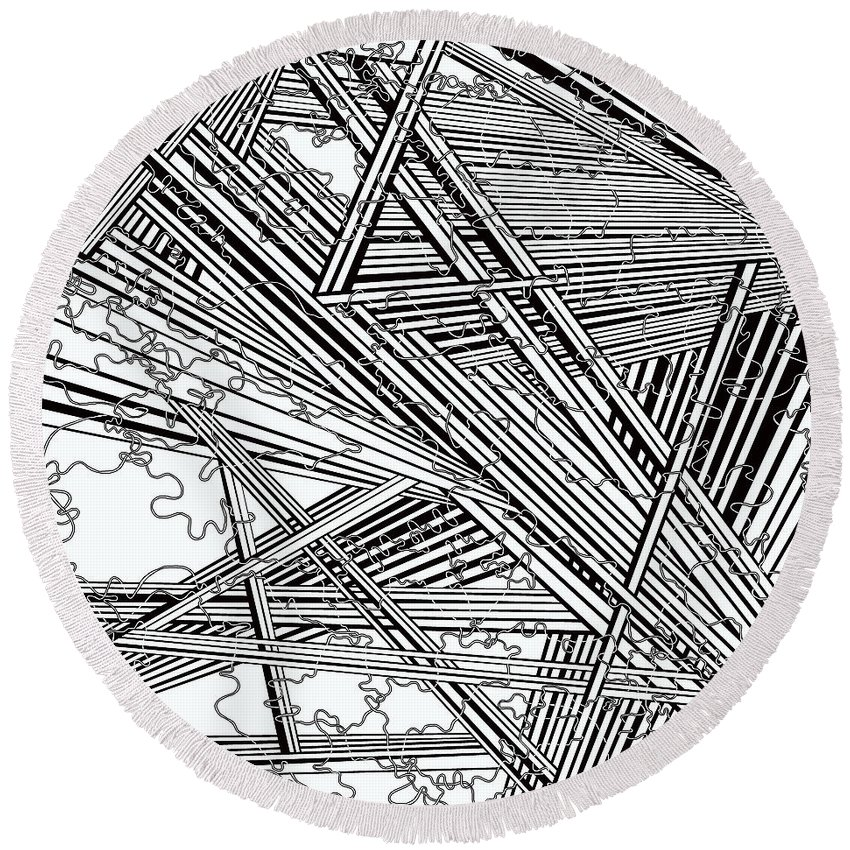 Black And White Fine Art Round Beach Towel featuring the painting One 46 by Douglas Christian Larsen