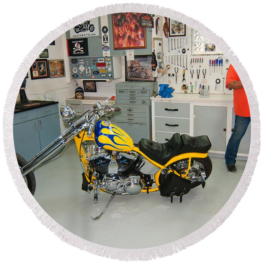 Yellow Chopper Round Beach Towel featuring the photograph One Chopper Coming Up by Randall Branham