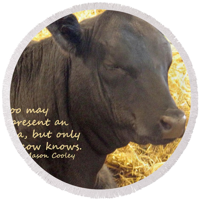 Moo Round Beach Towel featuring the photograph Only Cows Know by Ian MacDonald