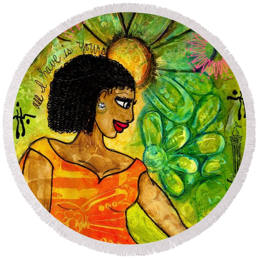 Acrylic Round Beach Towel featuring the painting Open Arms by Angela L Walker