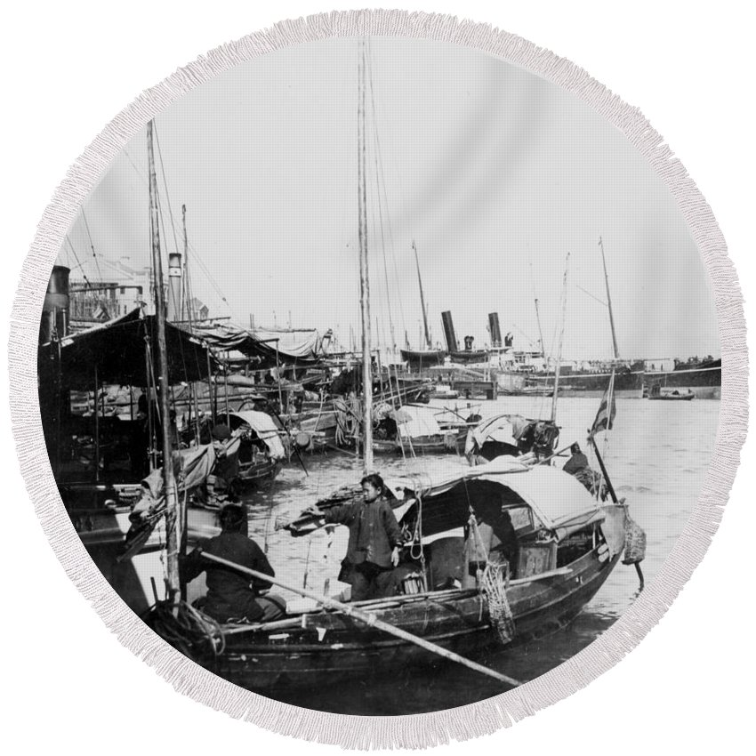 Opium Round Beach Towel featuring the photograph Opium Trader - Hong Kong Harbor - C 1901 by International Images