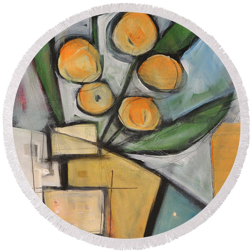 Flower Round Beach Towel featuring the painting Orange Blossom Special by Tim Nyberg