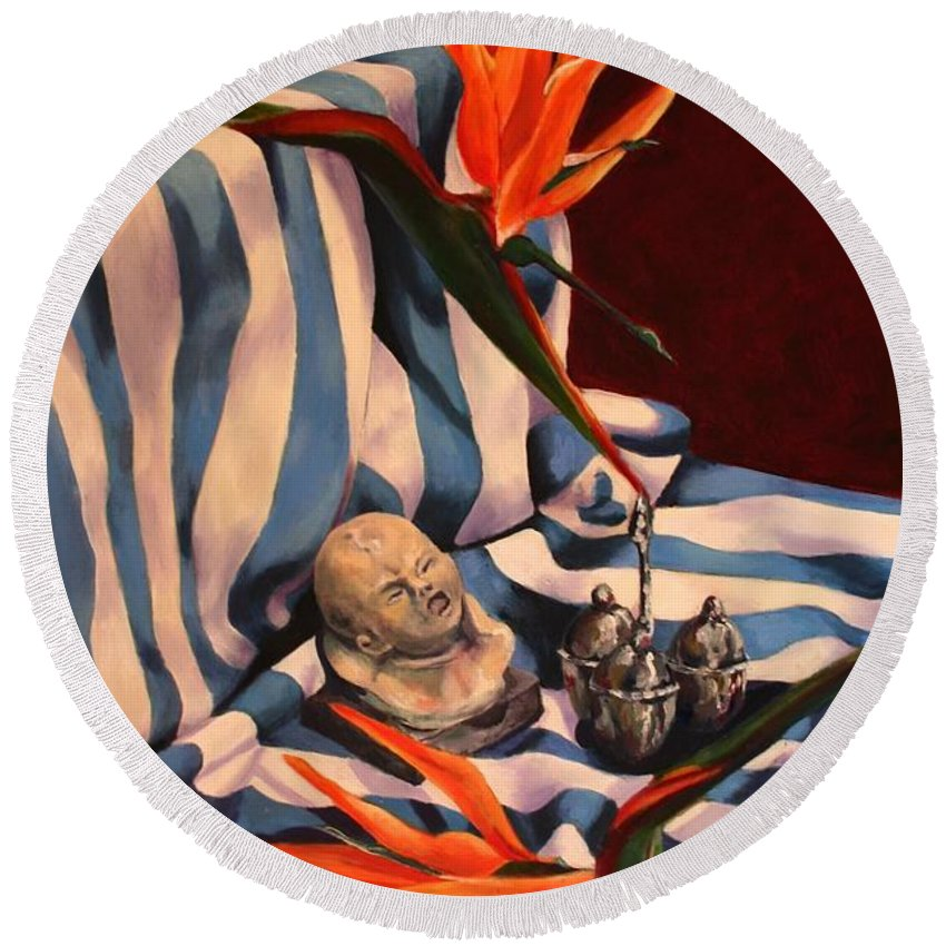 Still Life Round Beach Towel featuring the painting Orange Flowers And Blue Cloth by Jolante Hesse