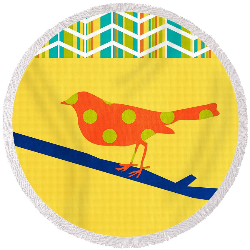 Bird Round Beach Towel featuring the mixed media Orange Polka Dot Bird by Linda Woods