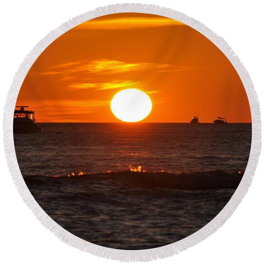 Sunset Round Beach Towel featuring the photograph Orange Sunset I by Christine Stonebridge