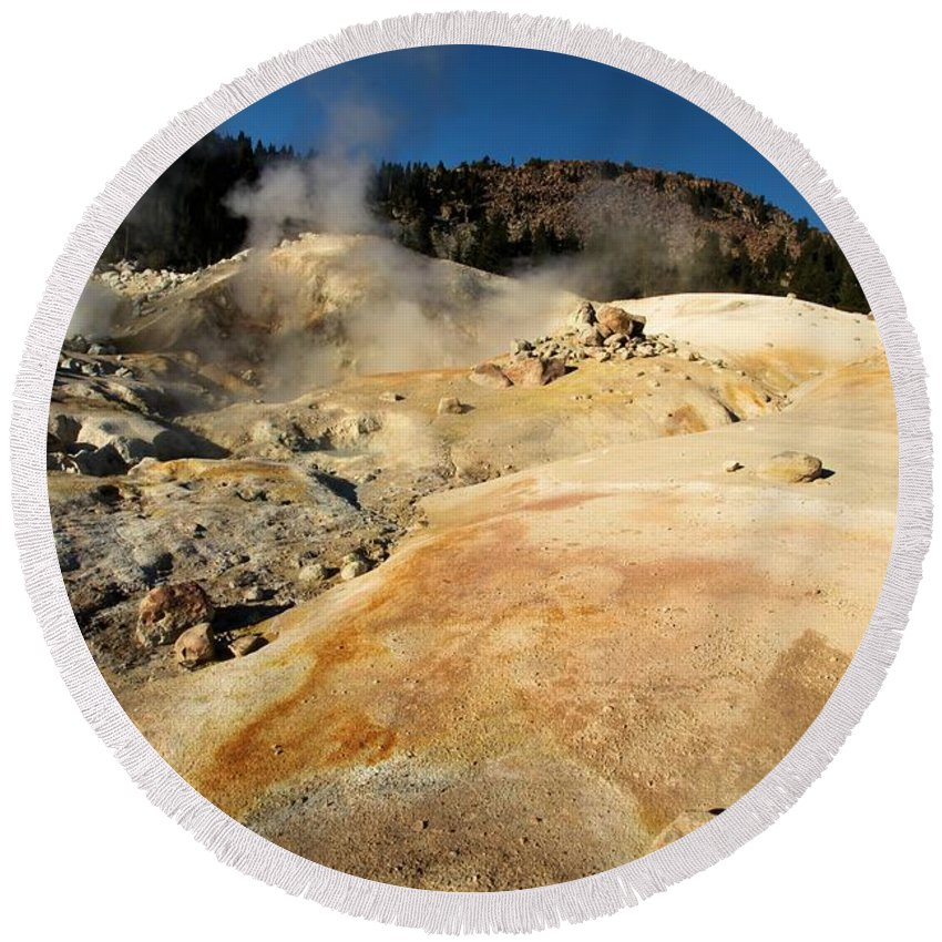 Lassen Volcanic National Park Round Beach Towel featuring the photograph Orange Thermal Crust by Adam Jewell