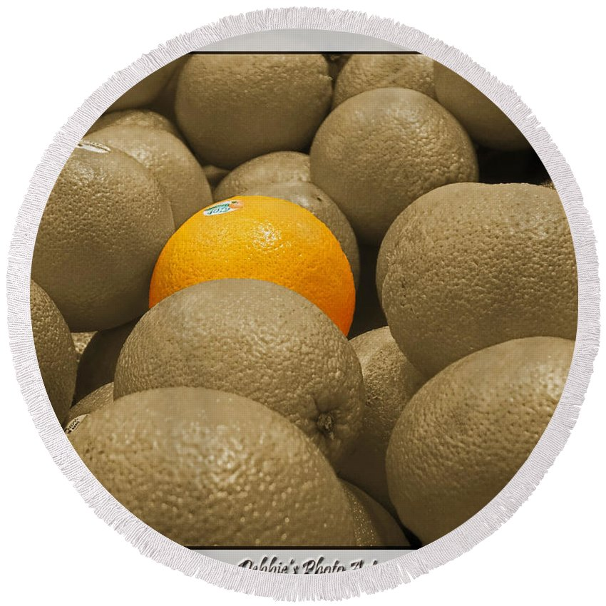 Still Life Round Beach Towel featuring the photograph Oranges S.c. by Debbie Portwood