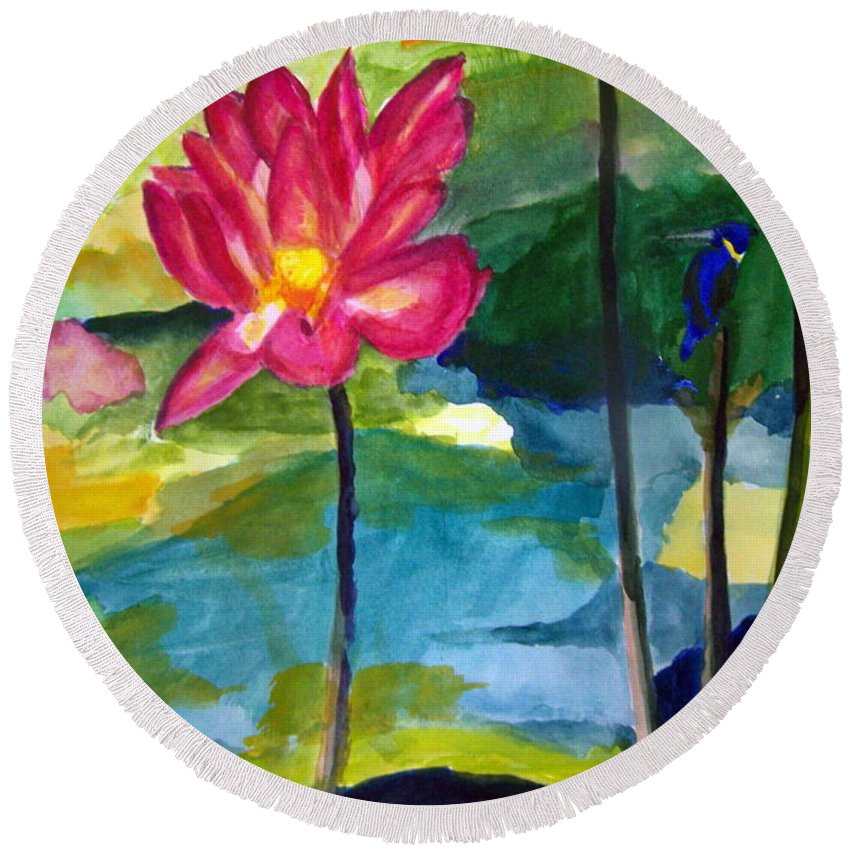 Pond Round Beach Towel featuring the painting Orchid With Blue Bird by Hal Newhouser