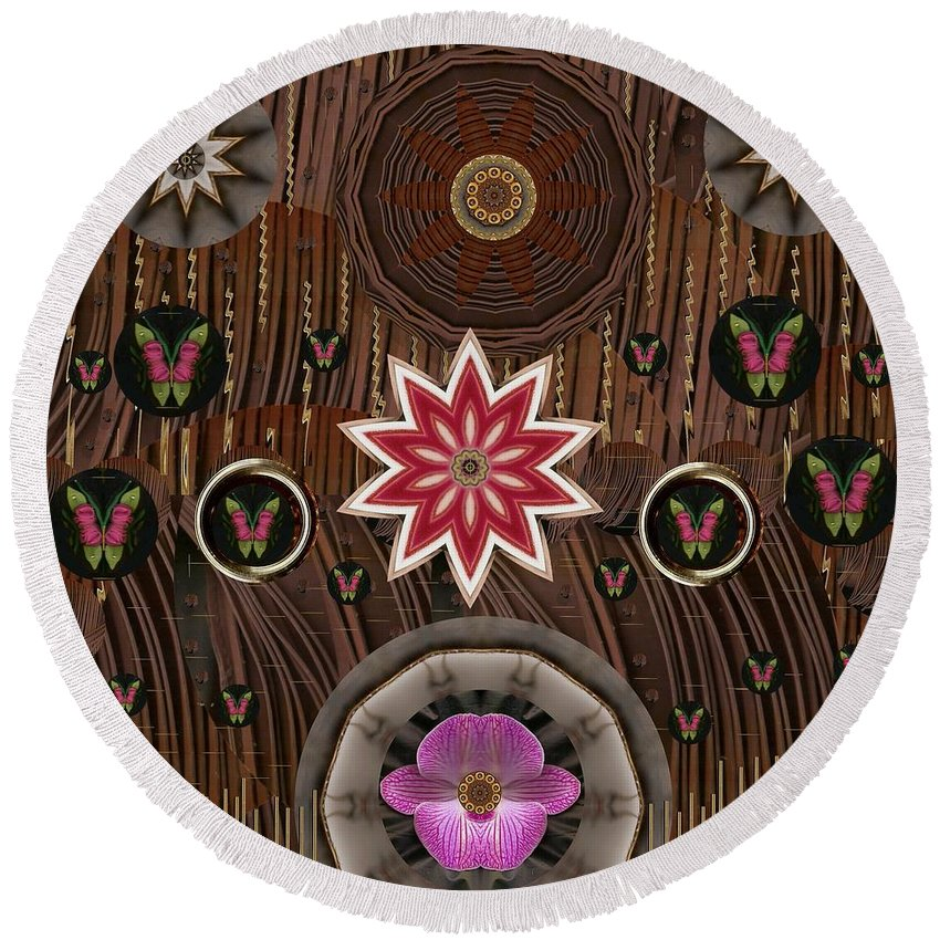 Landscape Round Beach Towel featuring the mixed media Orchids And Leather by Pepita Selles