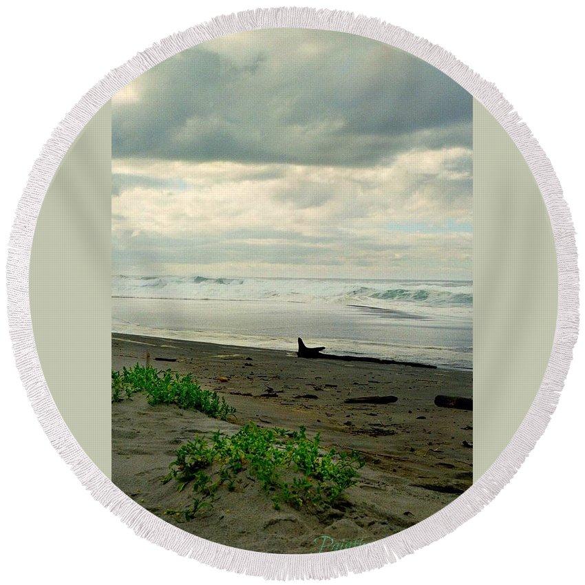 Beach Round Beach Towel featuring the photograph Oregon Coast 17 by Deahn   Benware