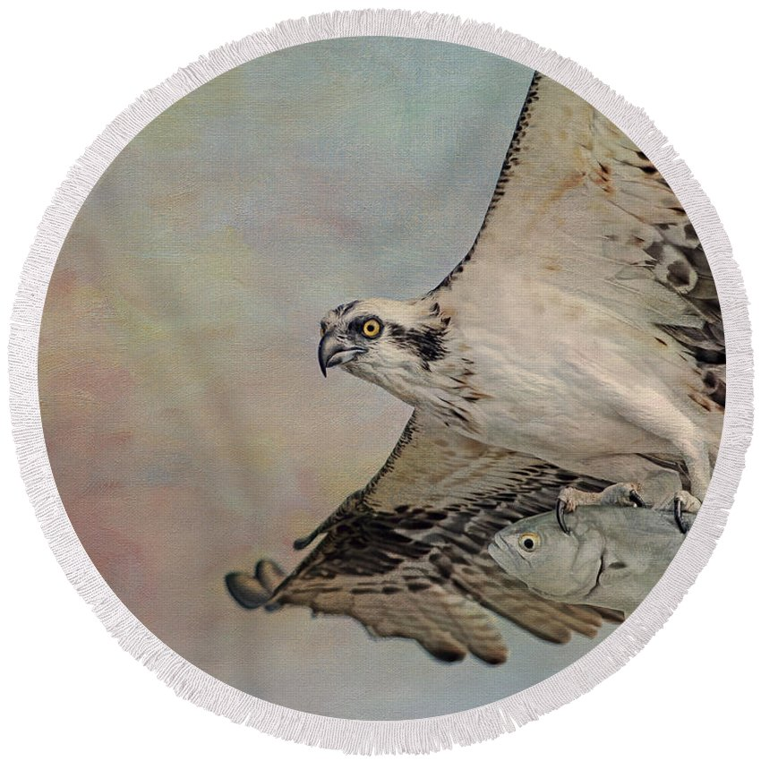 Osprey Round Beach Towel featuring the photograph Osprey And Fish by Deborah Benoit