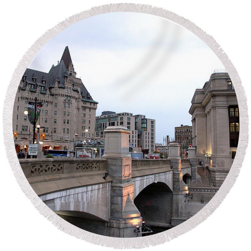 Chateau Round Beach Towel featuring the photograph Ottawa Night View by Valentino Visentini