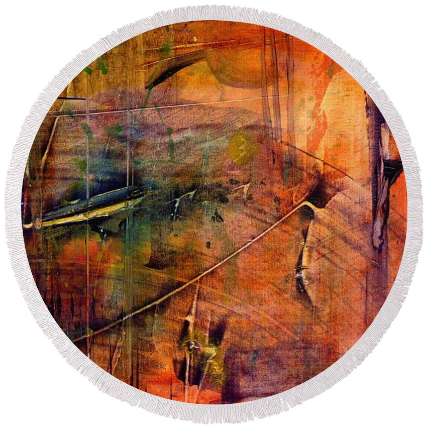Acrylic Round Beach Towel featuring the painting Outer Limits by Angela L Walker