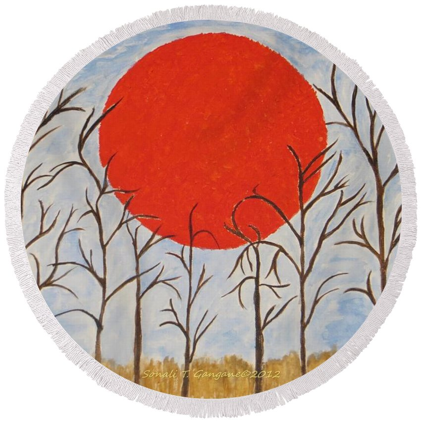 Sunset Begins Round Beach Towel featuring the painting Outset Sunset by Sonali Gangane