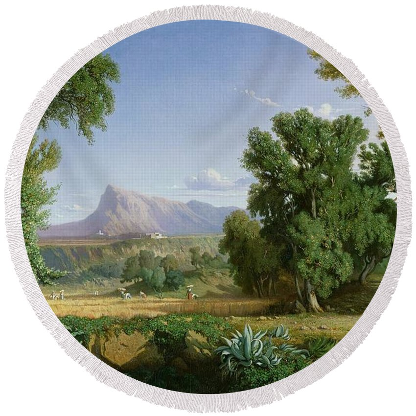 Outskirts Of Valdemusa Round Beach Towel featuring the painting Outskirts Of Valdemusa by Adolphe Paul Emile Balfourier