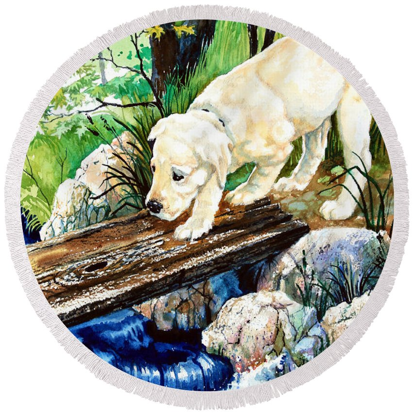 Puppy Round Beach Towel featuring the painting Overcoming Fear by Hanne Lore Koehler