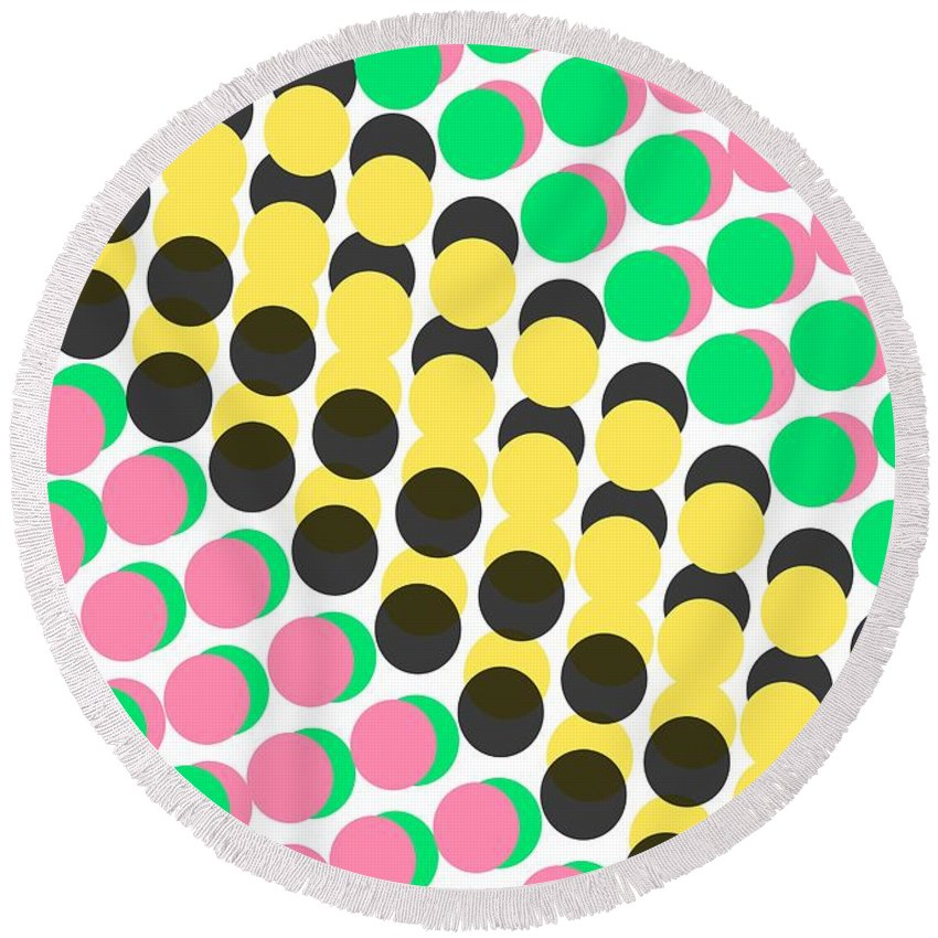 Overlayed Dots Round Beach Towel featuring the digital art Overlayed Dots by Louisa Knight