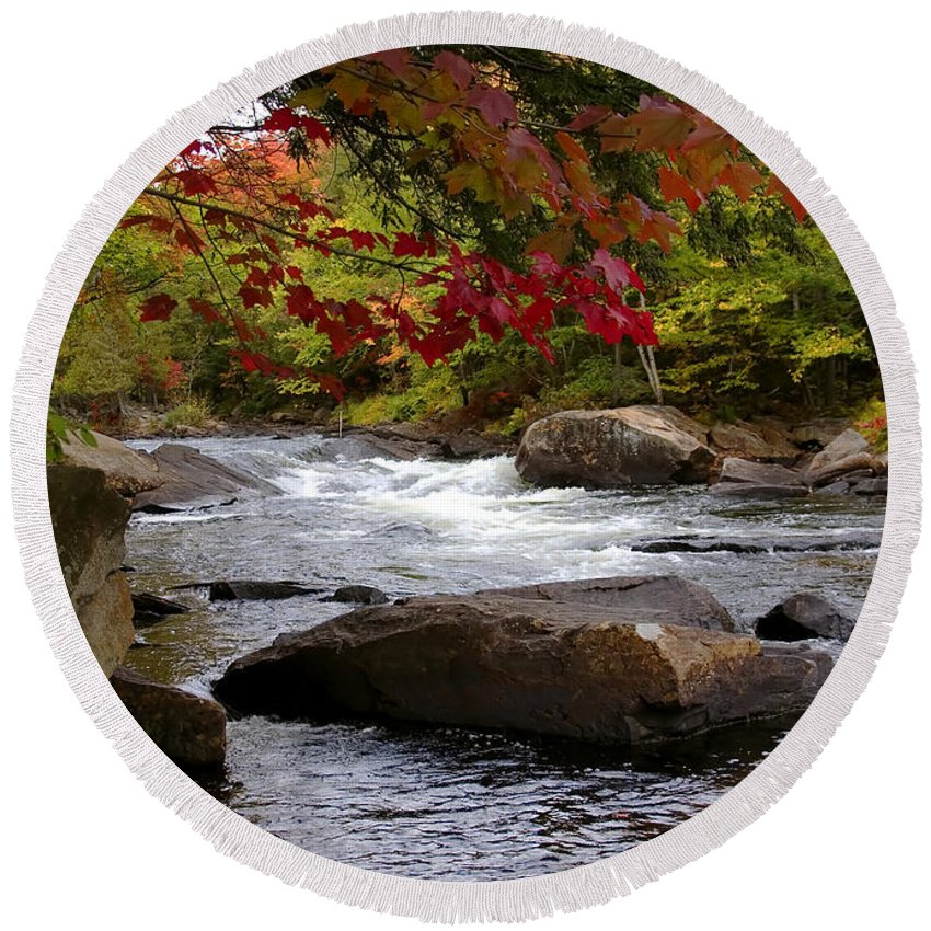 Canada Round Beach Towel featuring the digital art Ox Tongue River Algonquin by Pat Speirs