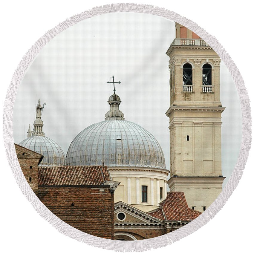 Padua Round Beach Towel featuring the photograph Padua Domes Padua Italy by Mike Nellums