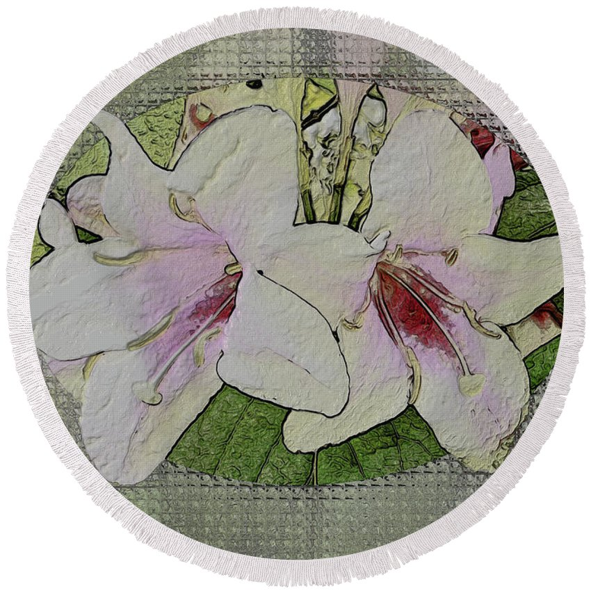 Flowers Round Beach Towel featuring the photograph Painted Weigela Window by Debbie Portwood