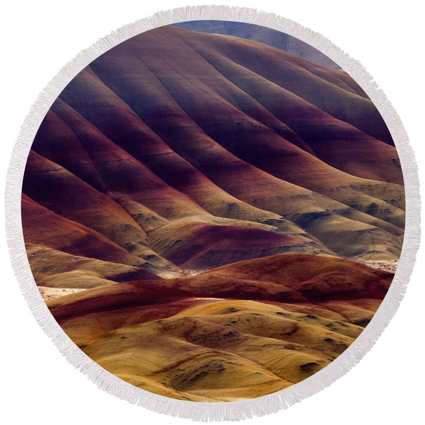 Painted Hills Round Beach Towel featuring the photograph Painted With Red by Mike Dawson