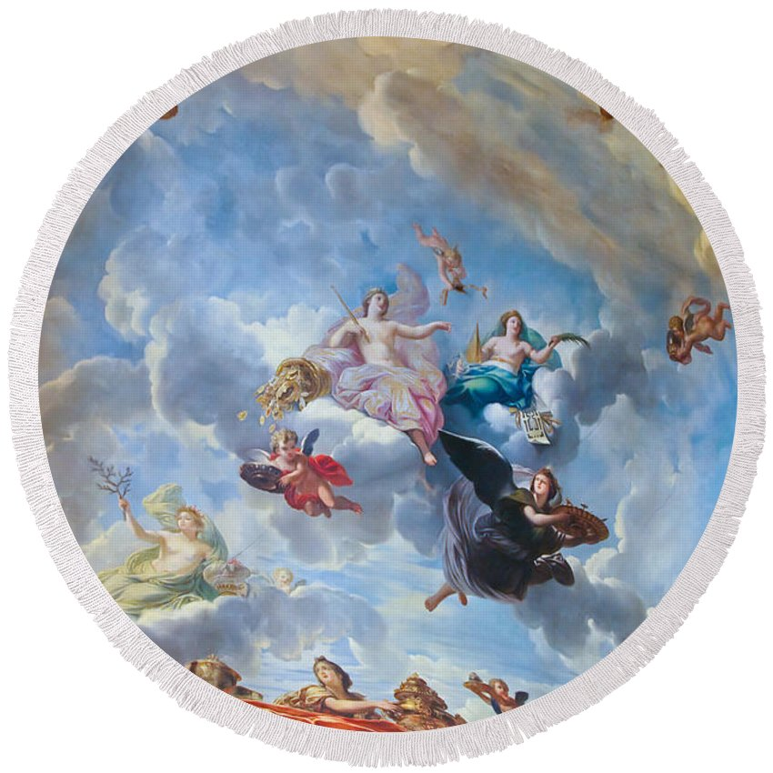 Palace Of Versailles Paris France Round Beach Towel featuring the photograph Palace Of Versailles Ceiling Art by Jon Berghoff