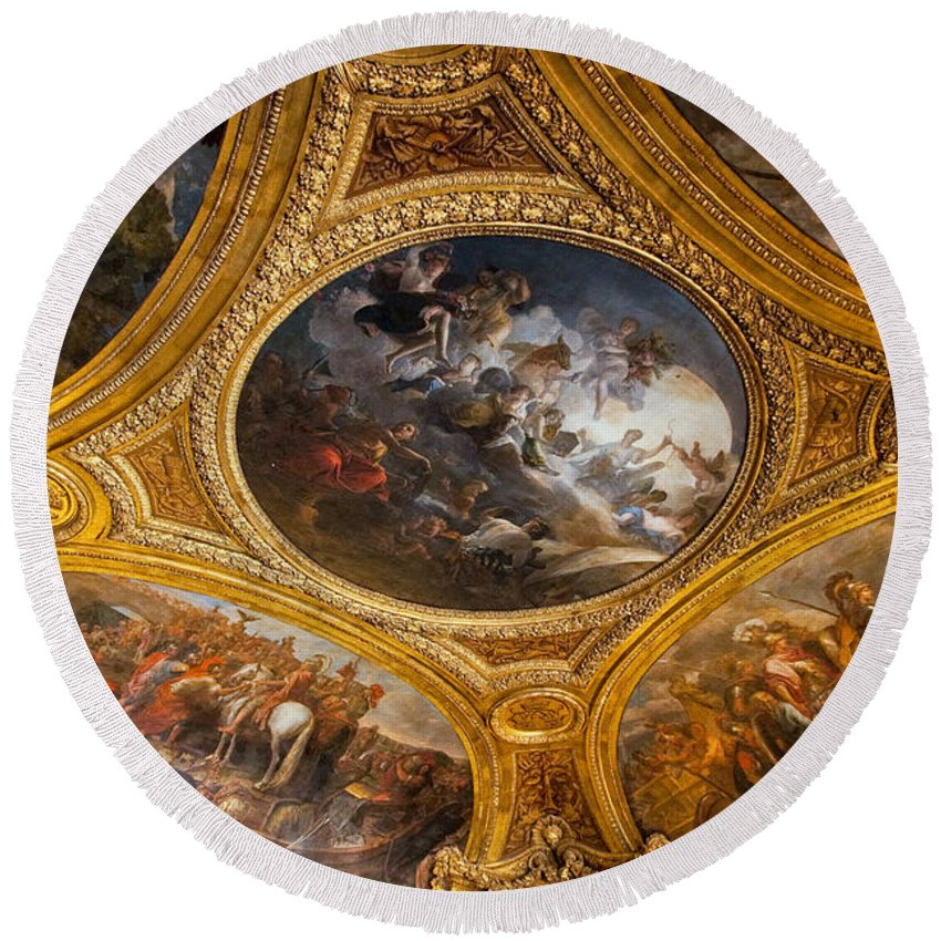 Palace Of Versailles Paris France Round Beach Towel featuring the photograph Palace Of Versailles Ceiling by Jon Berghoff