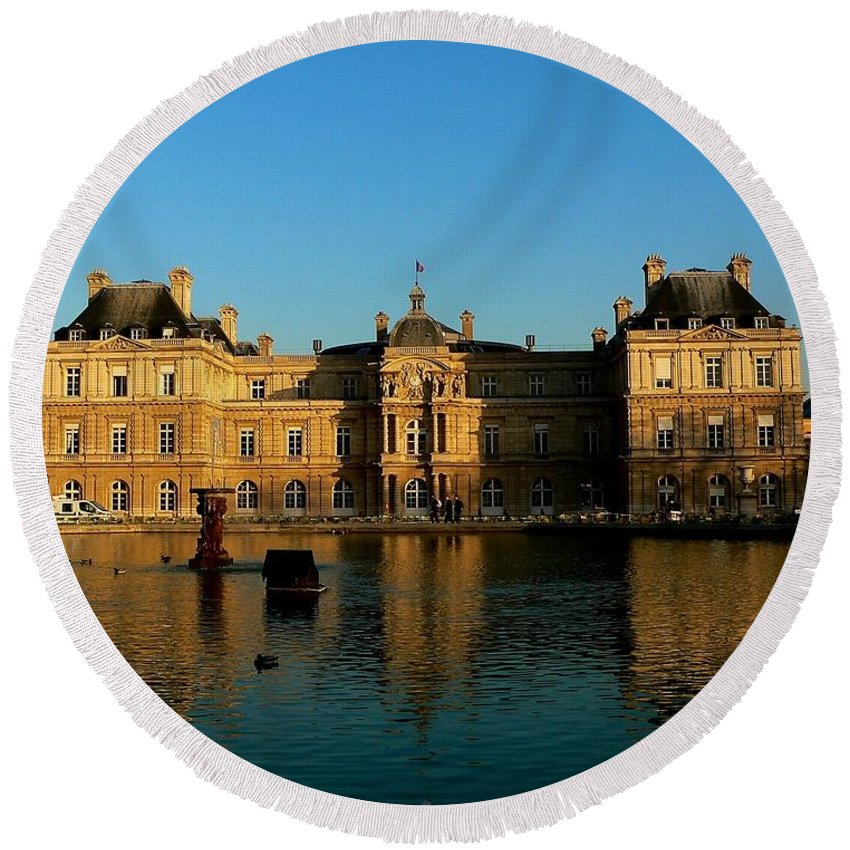 Paris Round Beach Towel featuring the photograph Palais Luxembourg by Eric Tressler
