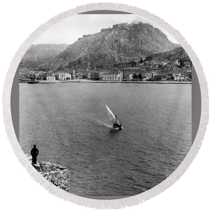 palamidi Fortress Round Beach Towel featuring the photograph Palamidi Fortress - Greece - C 1907 by International Images