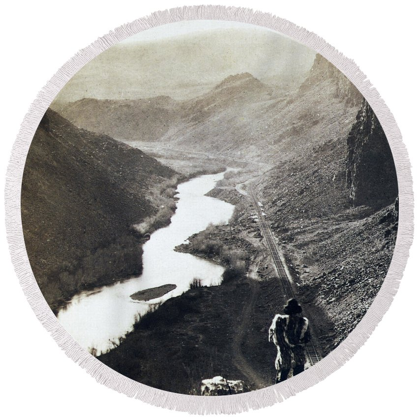 Palisades Round Beach Towel featuring the photograph Palisades Railroad View - California - C 1865 by International Images