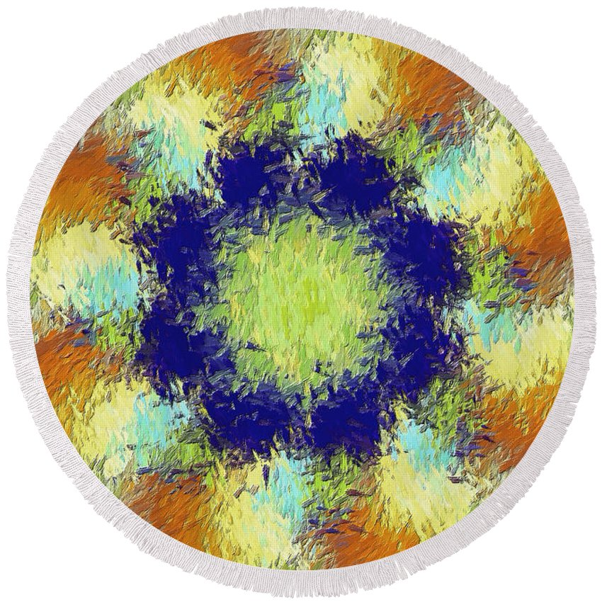 Abstract Round Beach Towel featuring the digital art Pallet Of Colors by Deborah Benoit