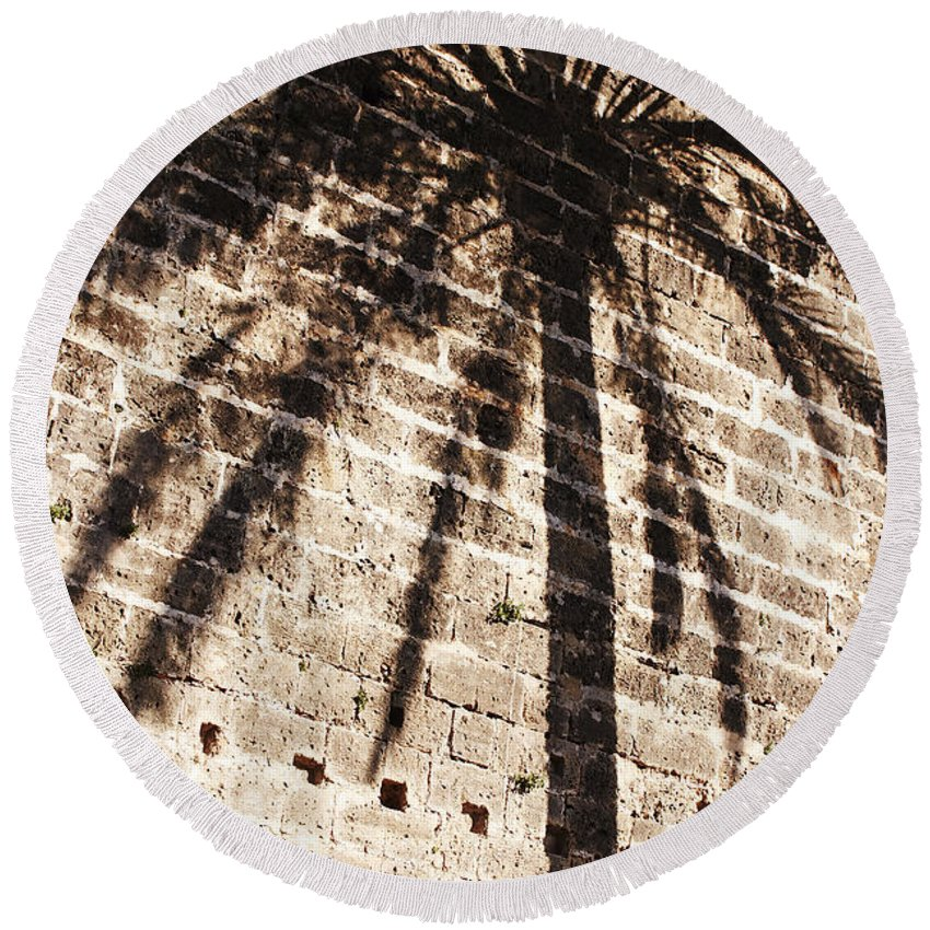 Palmera Round Beach Towel featuring the photograph Palm Shadow by Agusti Pardo Rossello