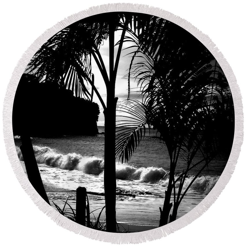 Palm Round Beach Towel featuring the photograph Palm Tree Silouette by Kimberly Perry