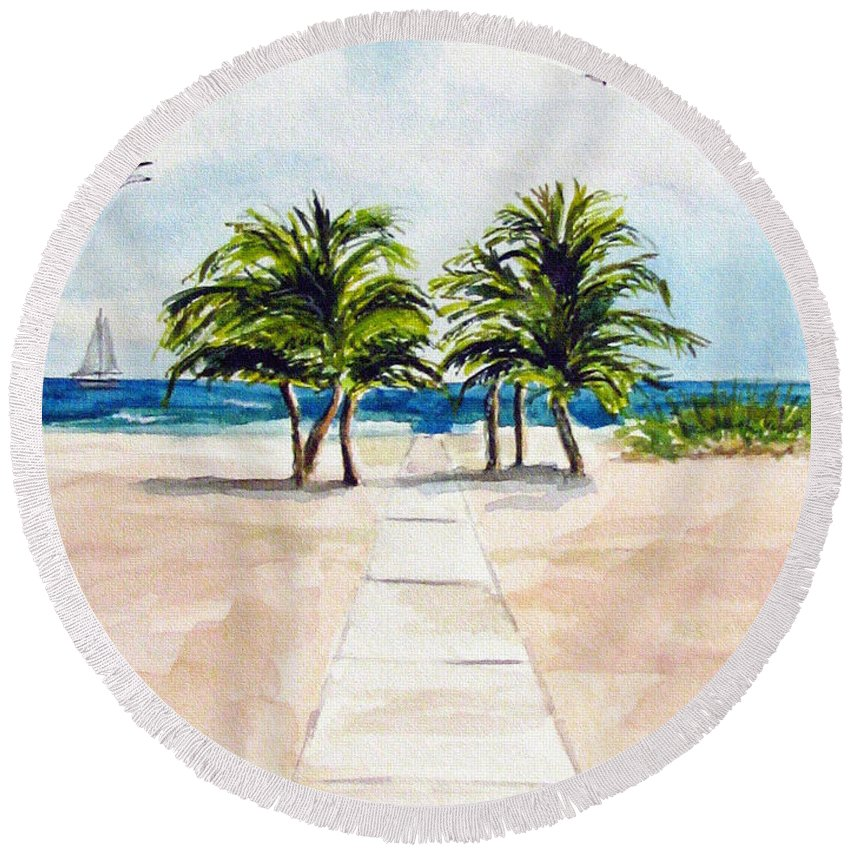 Palm Trees Round Beach Towel featuring the painting Palm Trees by Clara Sue Beym