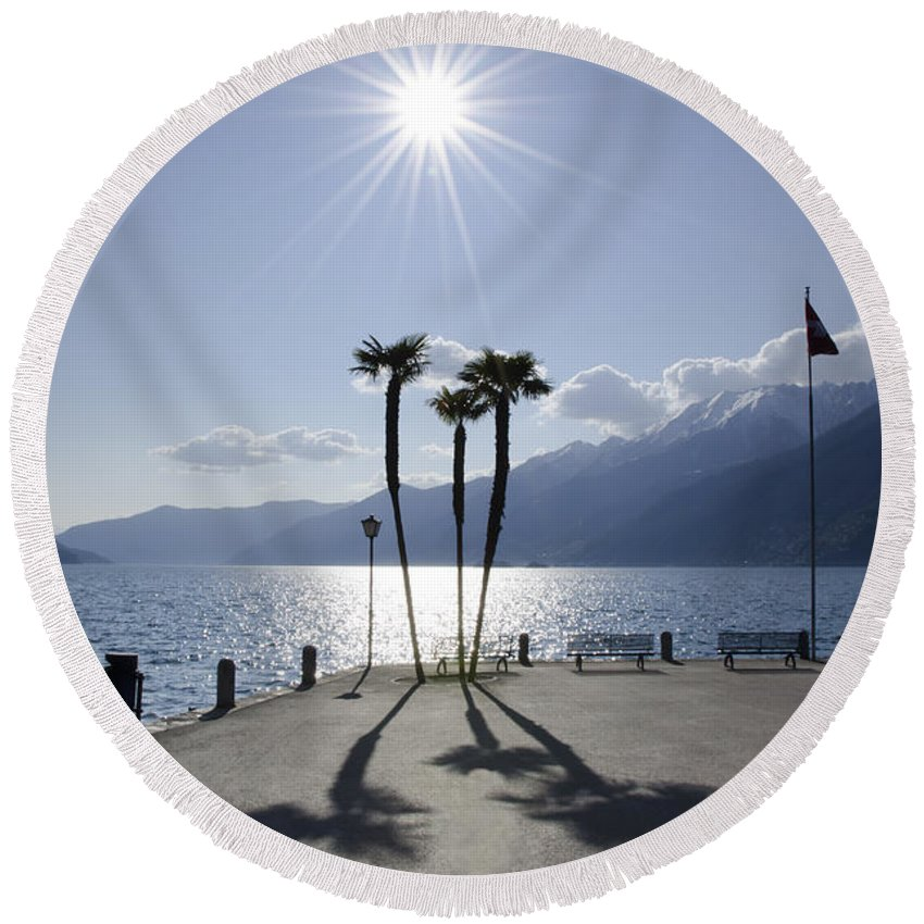 Palm Trees Round Beach Towel featuring the photograph Palm Trees With Shadows On The Lakefront by Mats Silvan