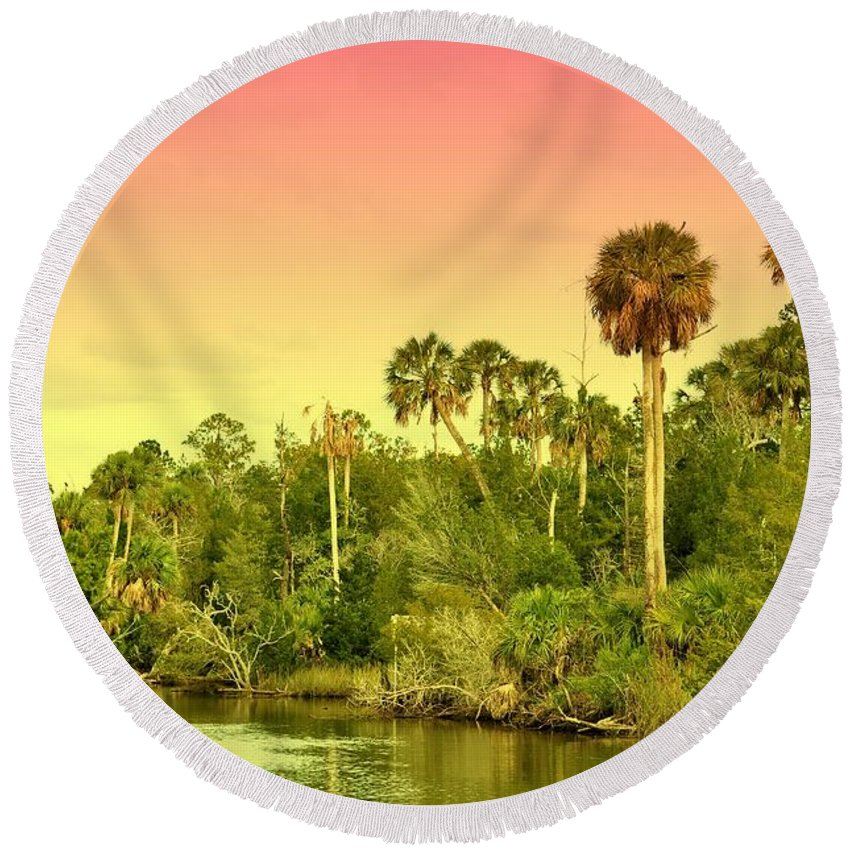 Landscapes Round Beach Towel featuring the photograph Palms In Twilight by Jan Amiss Photography