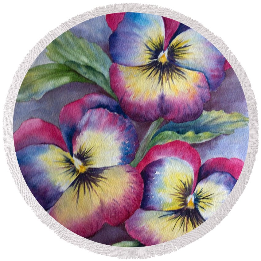 Pansy Round Beach Towel featuring the painting Pansies by Dee Carpenter