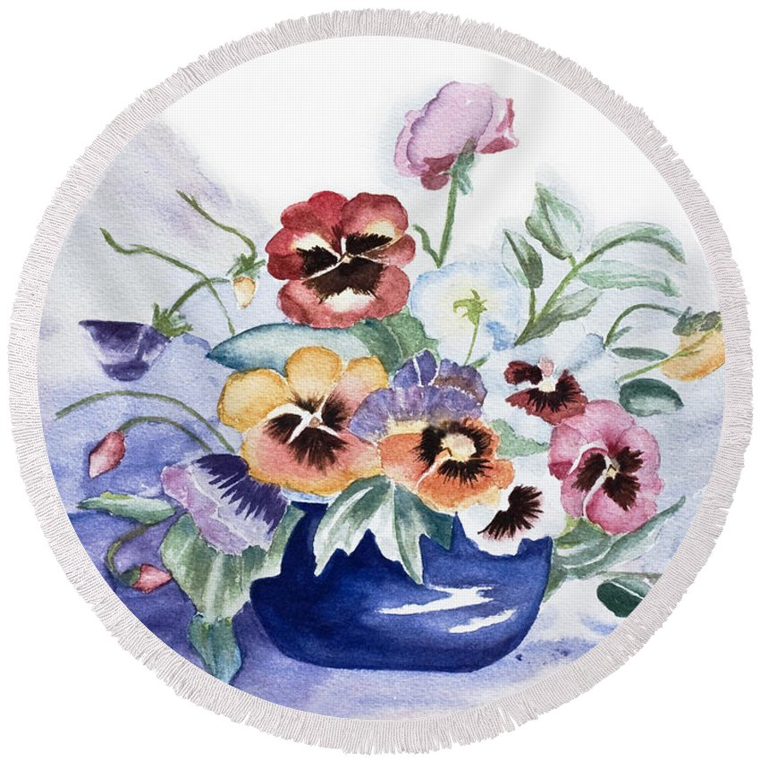 Watercolour Round Beach Towel featuring the painting Pansies In Blue Pot by Barbara McMahon