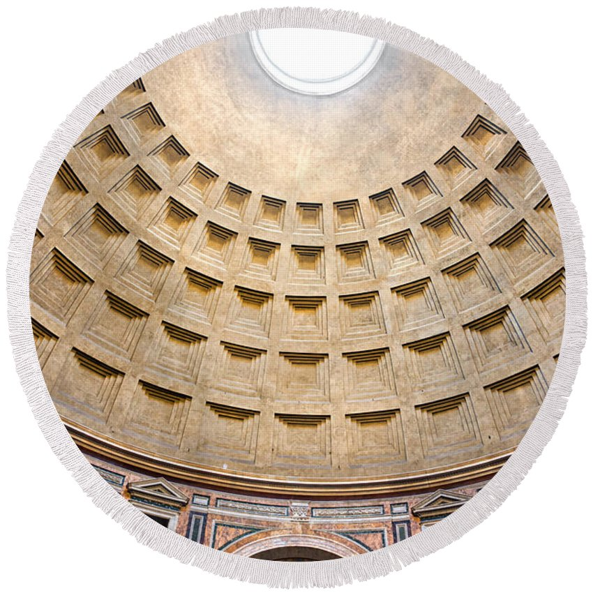 Amphitheater Round Beach Towel featuring the photograph Pantheon by Luciano Mortula