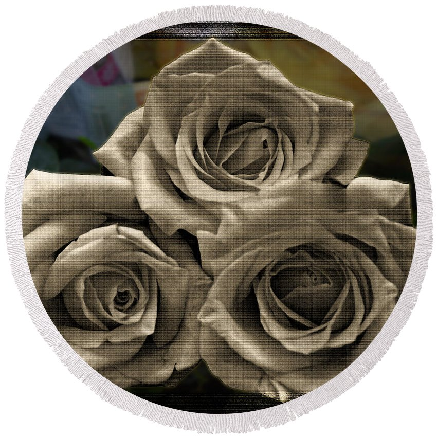 Nature Round Beach Towel featuring the photograph Paper Roses Art by Debbie Portwood