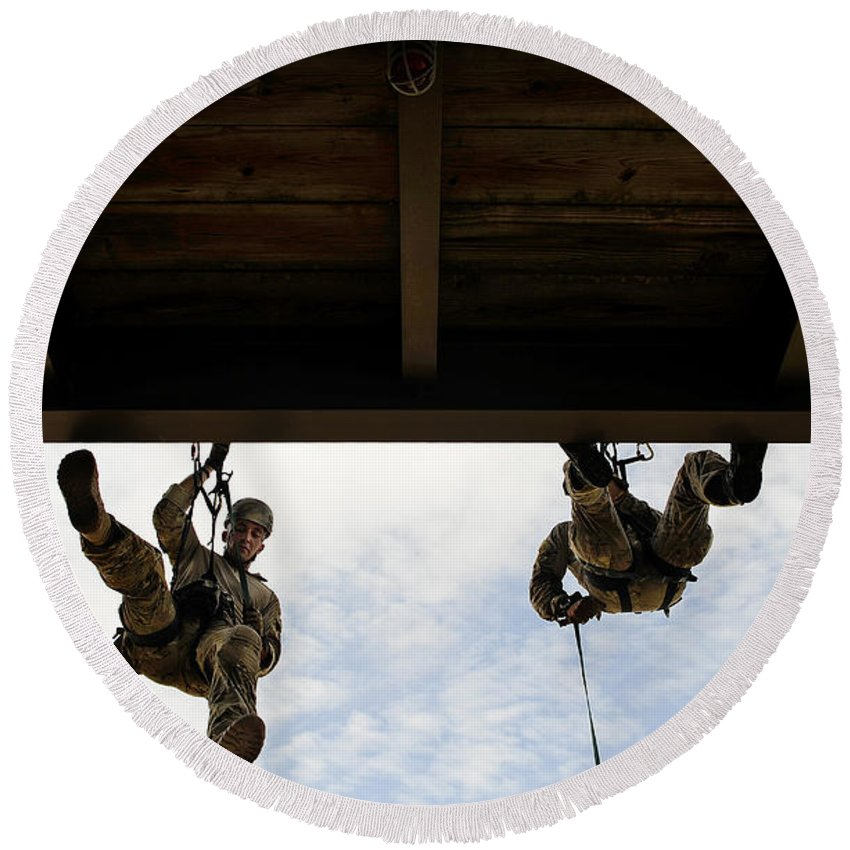Florida Round Beach Towel featuring the photograph Pararescuemen Take Part In A Rappelling by Stocktrek Images