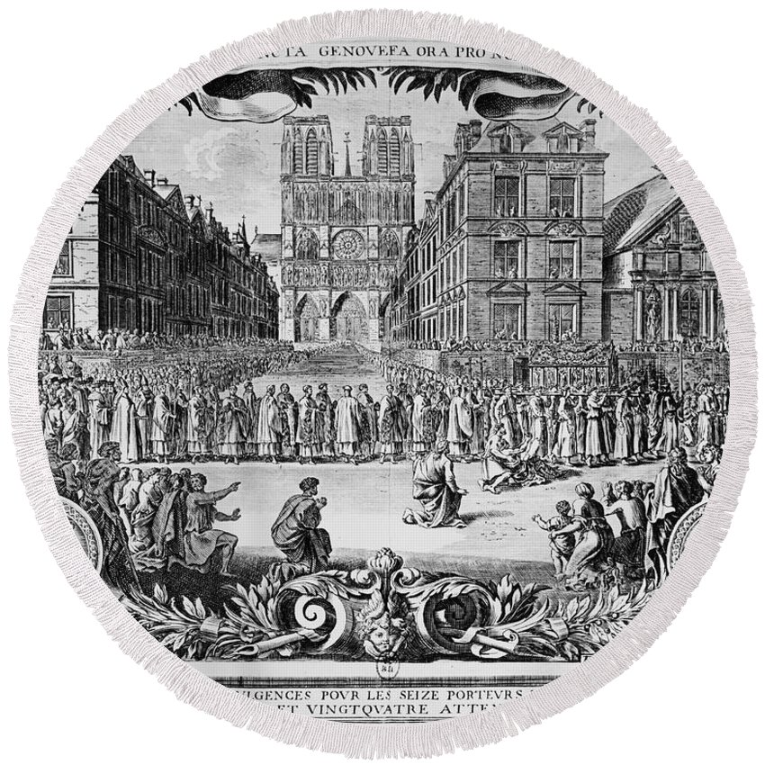 1694 Round Beach Towel featuring the photograph Paris: Catholic Procession by Granger